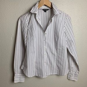 George fine parallel striped white button-up Shirt